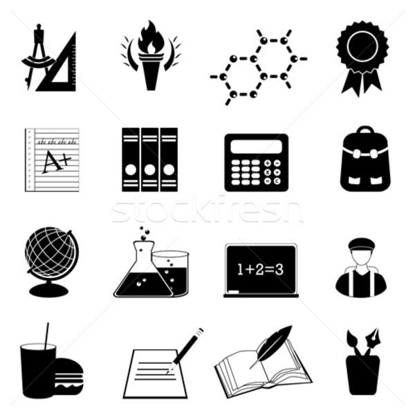 Escolas educação de volta à escola ícones papel Foto stock © soleilc