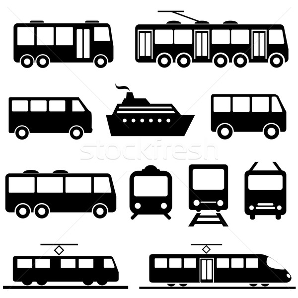 Public transportation icon set Stock photo © soleilc