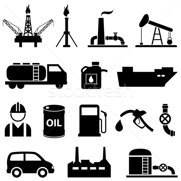Oil, petroleum and gasoline icons Stock photo © soleilc