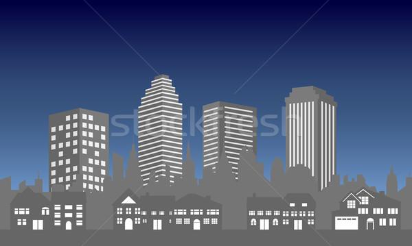 City skyline with houses Stock photo © soleilc