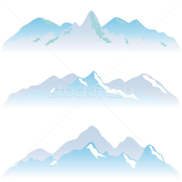 Berg landschap sneeuw grafische cartoon top Stockfoto © soleilc