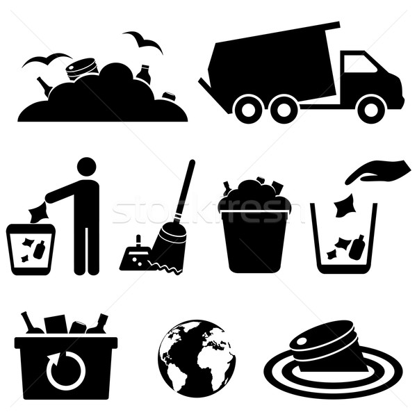 Garbage, trash and waste icons Stock photo © soleilc