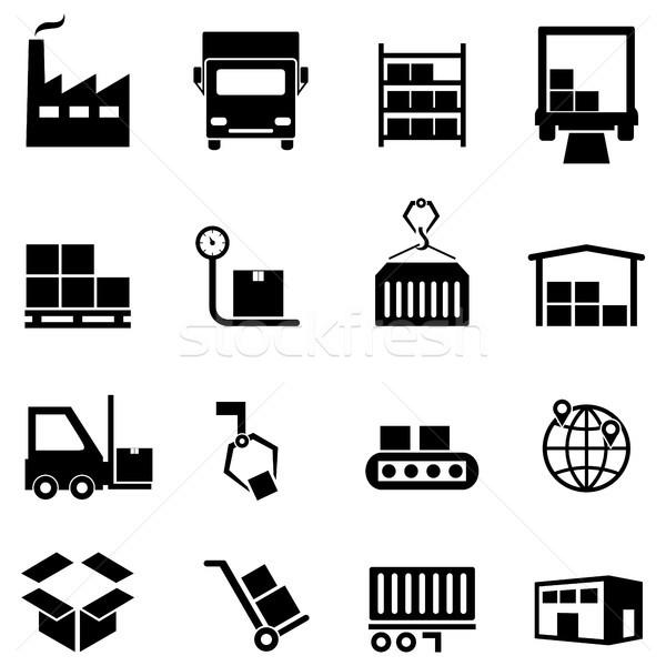 Logistyka dystrybucja magazynu ikona zaopatrywać łańcucha Zdjęcia stock © soleilc