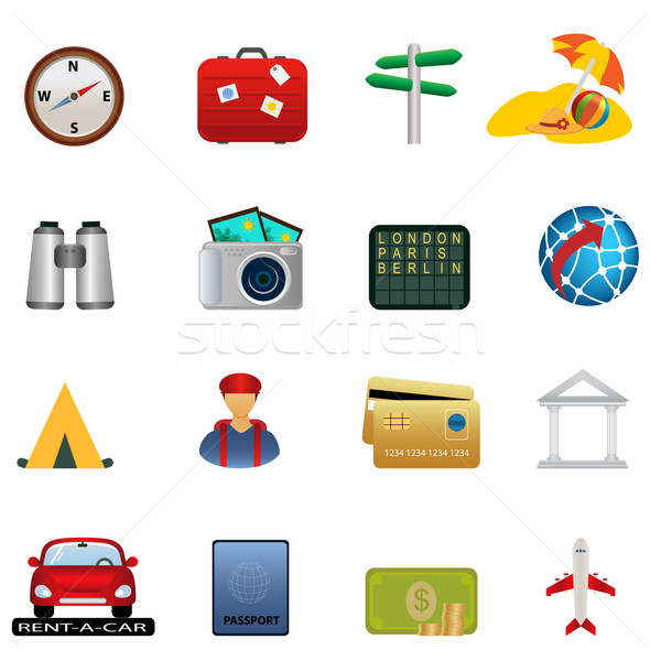 Travel and tourism icon set Stock photo © soleilc