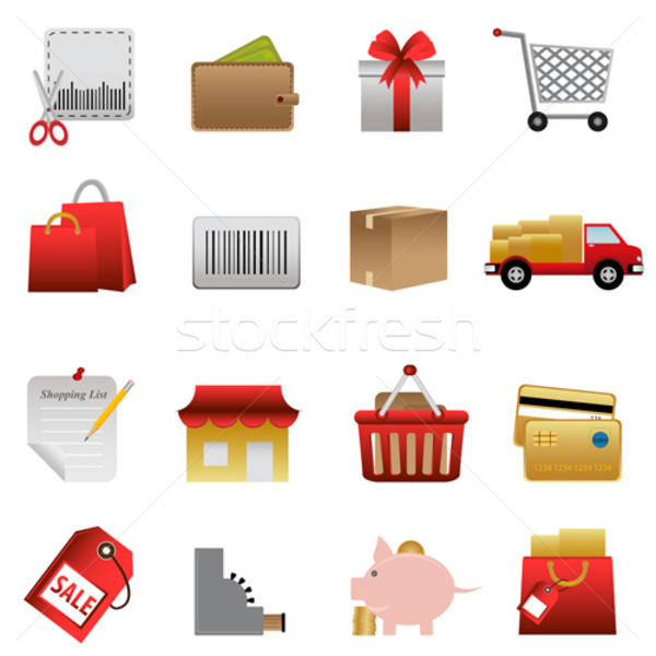 Shopping related icon set Stock photo © soleilc