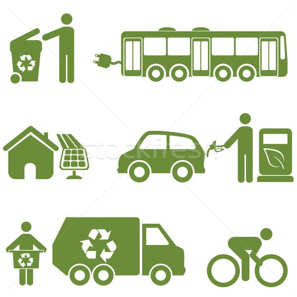 Recyclage environnement symboles maison homme Photo stock © soleilc