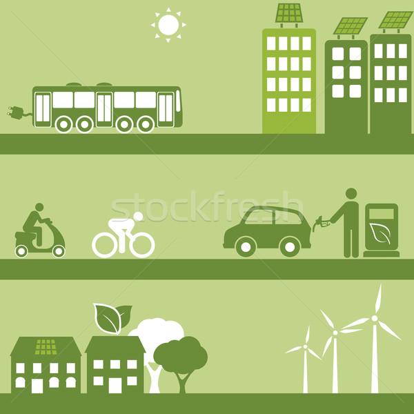 Autre carburant solaire bâtiments énergie transport Photo stock © soleilc