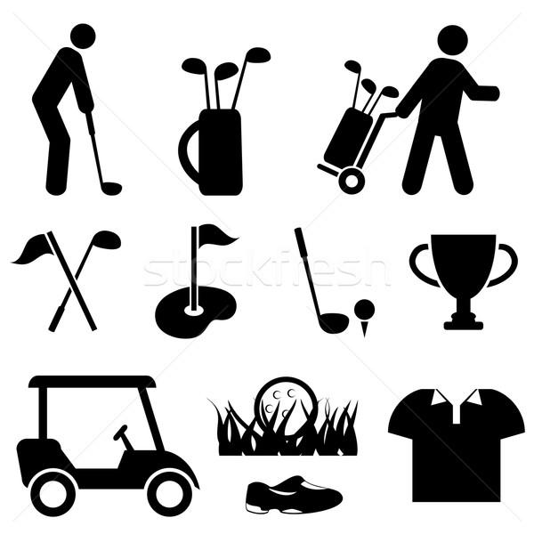 Golfe jogador de golfe ícones homem assinar Foto stock © soleilc