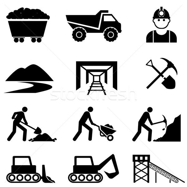 Mining and miner icon set Stock photo © soleilc