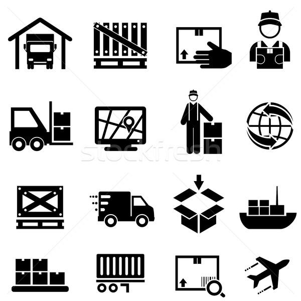 Expedição carga entrega armazém os ícones do web distribuição Foto stock © soleilc