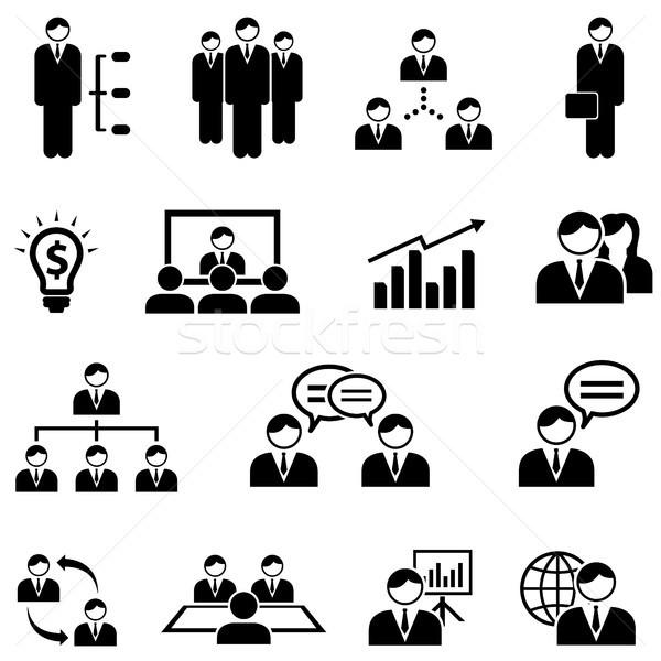 Yönetim iş web simgesi ayarlamak iş toplantısı toplantı Stok fotoğraf © soleilc