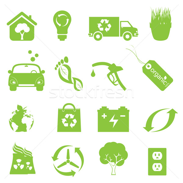 Recycling and clean environment icon set Stock photo © soleilc