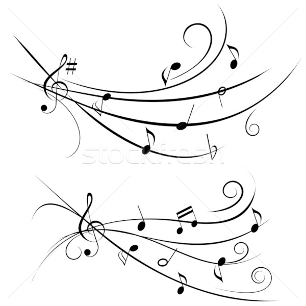 Music notes on ornamental staff Stock photo © soleilc