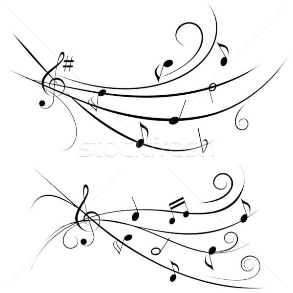 Notas musicales personal música silueta Foto stock © soleilc