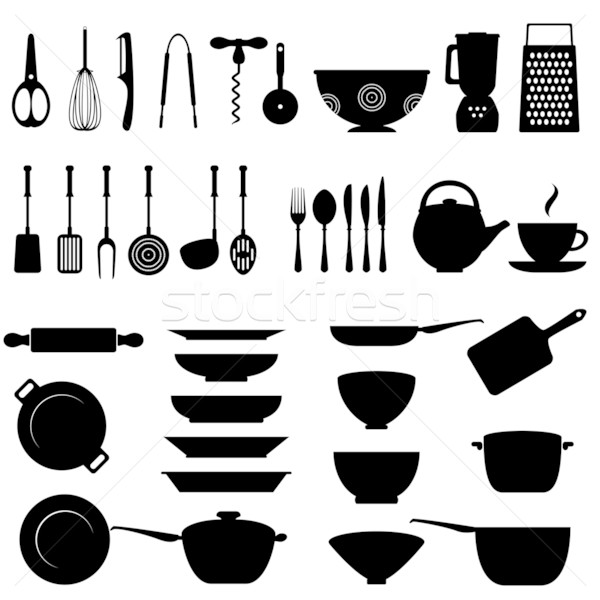 Stock photo: Kitchen utensil icon set