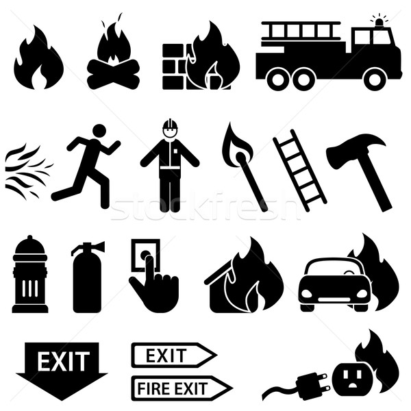 Fire related icon set Stock photo © soleilc