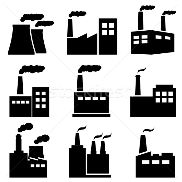 Factory, power plant industrial icons Stock photo © soleilc
