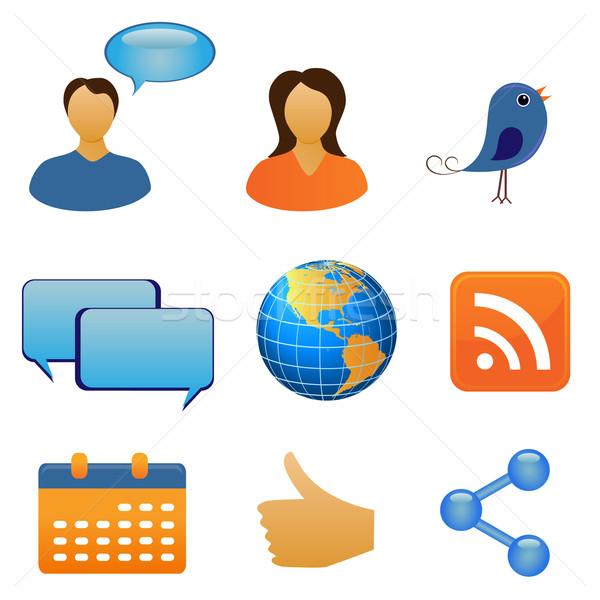 Komunikacji symbolika strony świecie człowiek Zdjęcia stock © soleilc