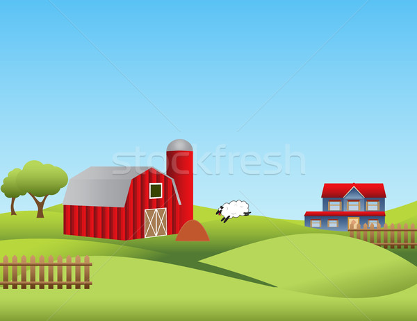 Farm with rolling hills Stock photo © soleilc