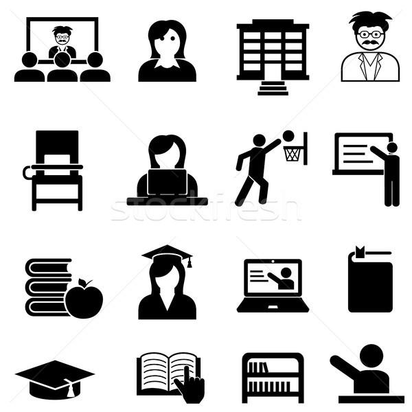 College and university web icon set Stock photo © soleilc