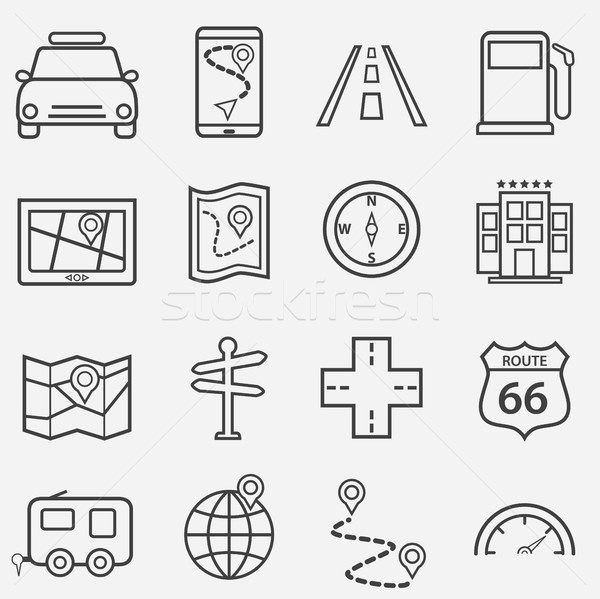 Road trip, travel and navigation line icons Stock photo © soleilc