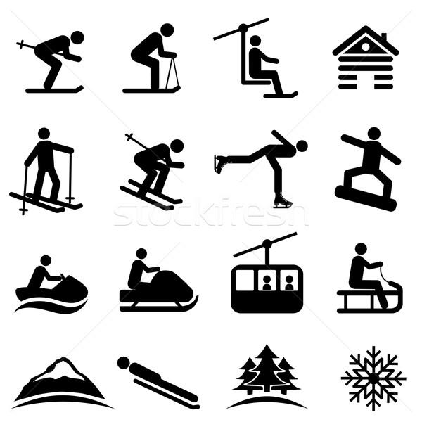 Ski, snow and winter icons Stock photo © soleilc