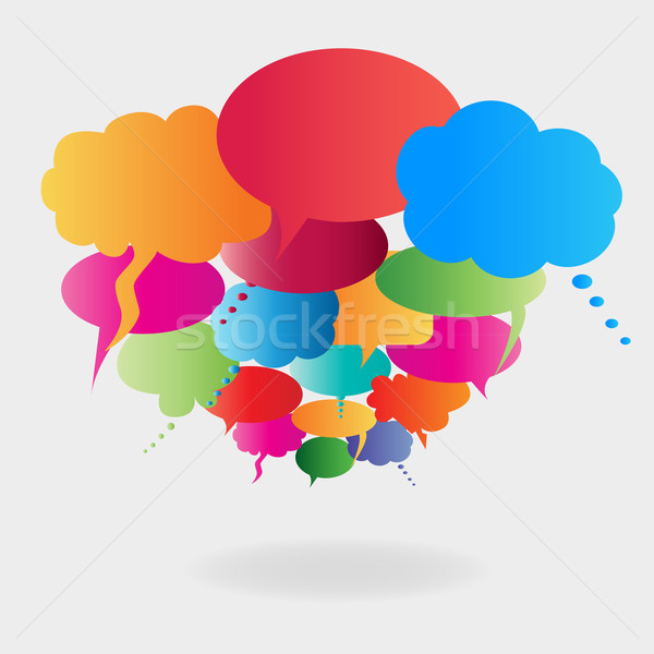 Colorful speech balloons Stock photo © soleilc