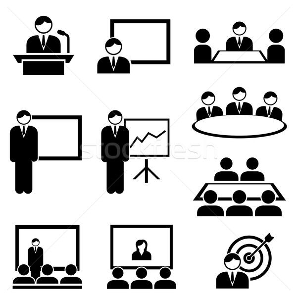 Business presentation and meeting icons Stock photo © soleilc