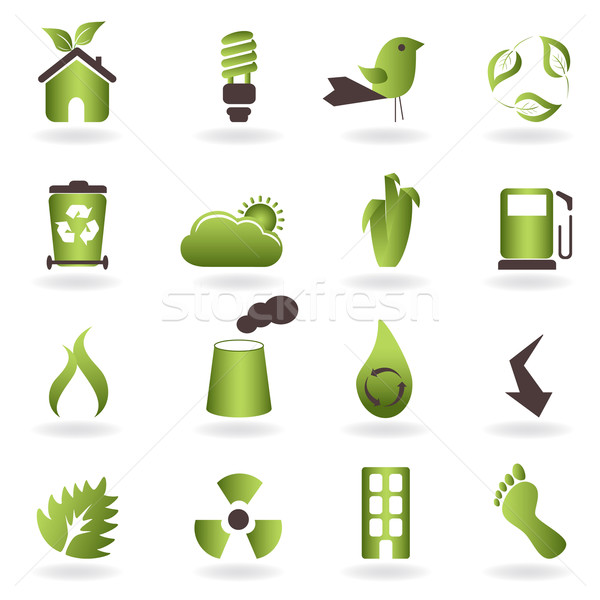 Eco symbols and icons Stock photo © soleilc