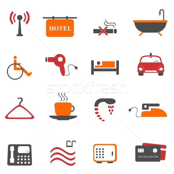 Hotel or accommodation icons Stock photo © soleilc