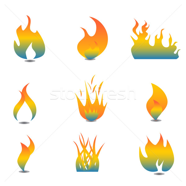 Flame icon set Stock photo © soleilc