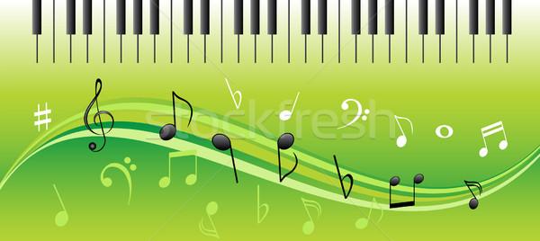 Muziek merkt pianotoetsen muziek geluid bladmuziek Stockfoto © soleilc