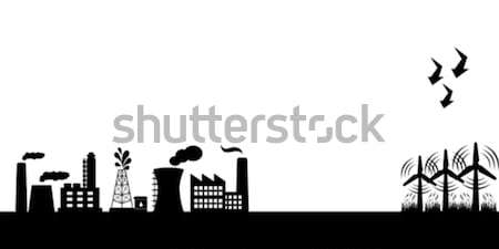 Industrial buildings with wind turbines Stock photo © soleilc