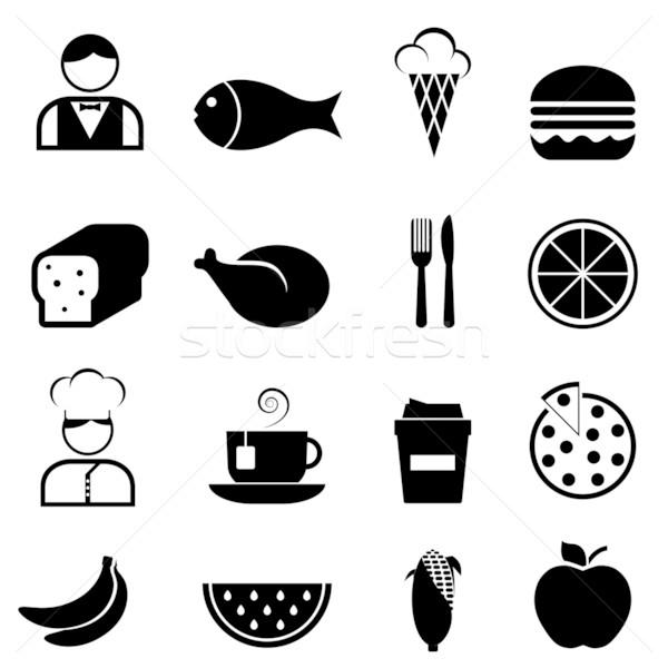 Сток-фото: продовольствие · ресторан · иконки · яблоко · хлеб