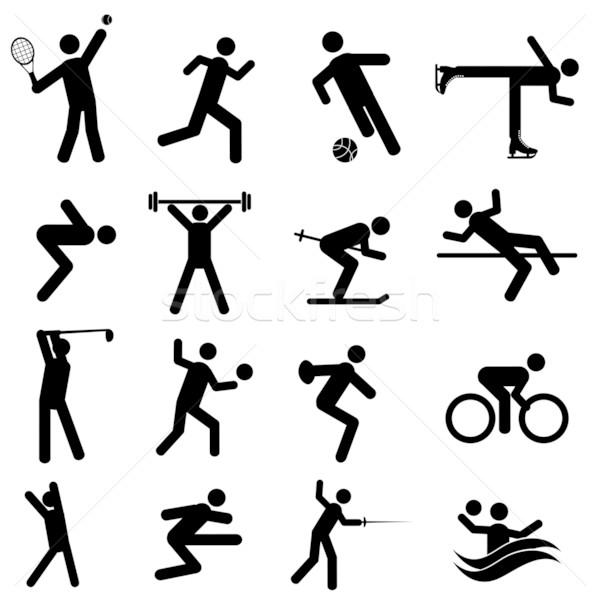 Spor atletizm simgeler siyah futbol Stok fotoğraf © soleilc