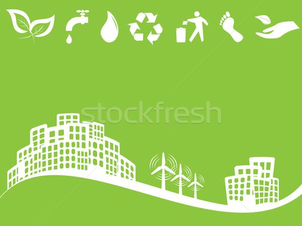 環境にやさしい 緑 市 風力タービン 男 太陽 ストックフォト © soleilc