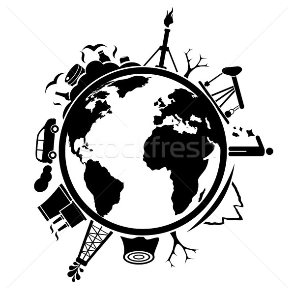 Earth with garbage and pollution Stock photo © soleilc