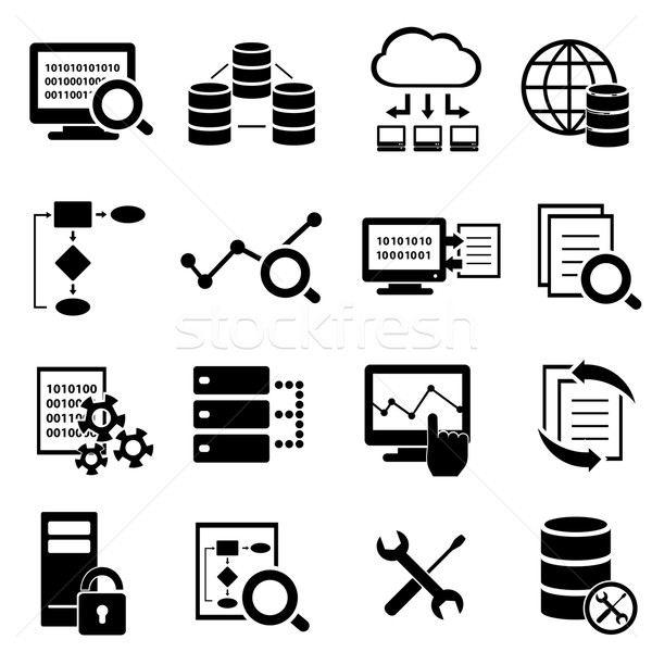 Stock photo: Big data, cloud computing and technology icons
