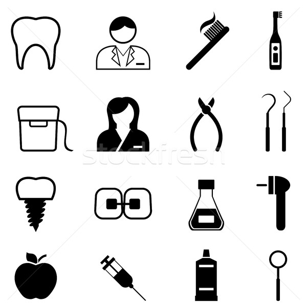 Dental health and dentist icons Stock photo © soleilc