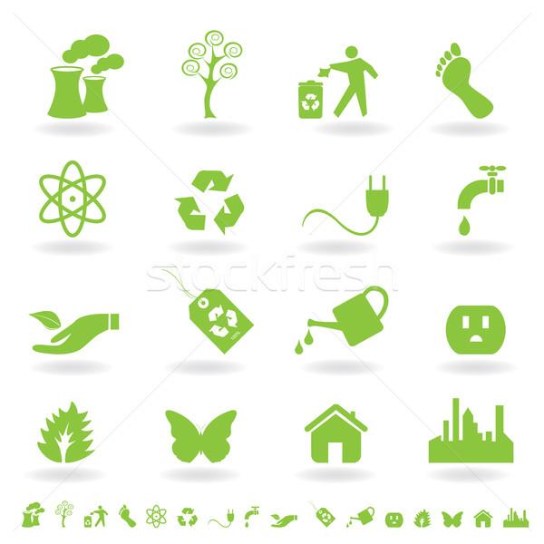 Green eco icon set Stock photo © soleilc