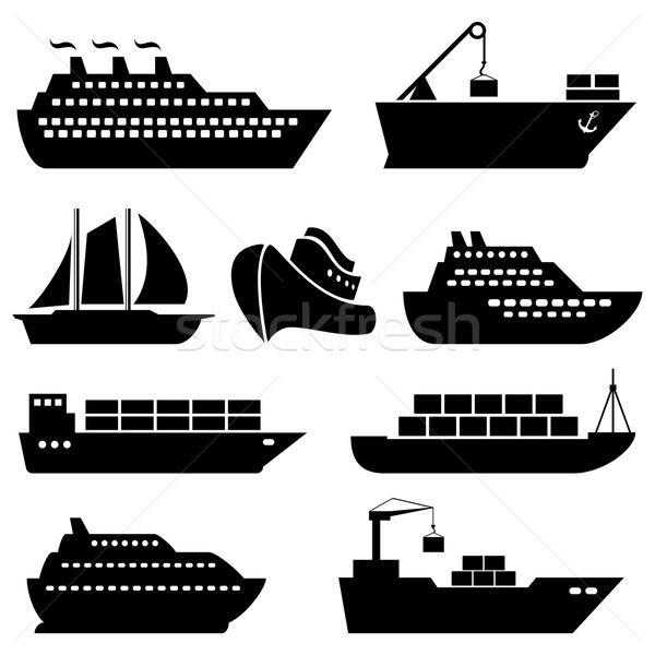 Ships, boats, cargo, logistics and shipping icons Stock photo © soleilc