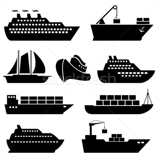 Navios barcos carga logística expedição ícones Foto stock © soleilc