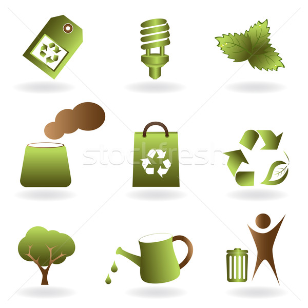 Eco and environment icon set Stock photo © soleilc