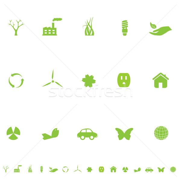 általános öko szimbólumok ikon gyűjtemény zöld virág Stock fotó © soleilc