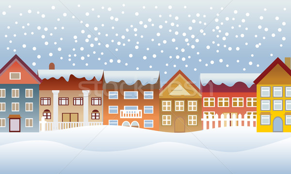 Winter town Stock photo © soleilc