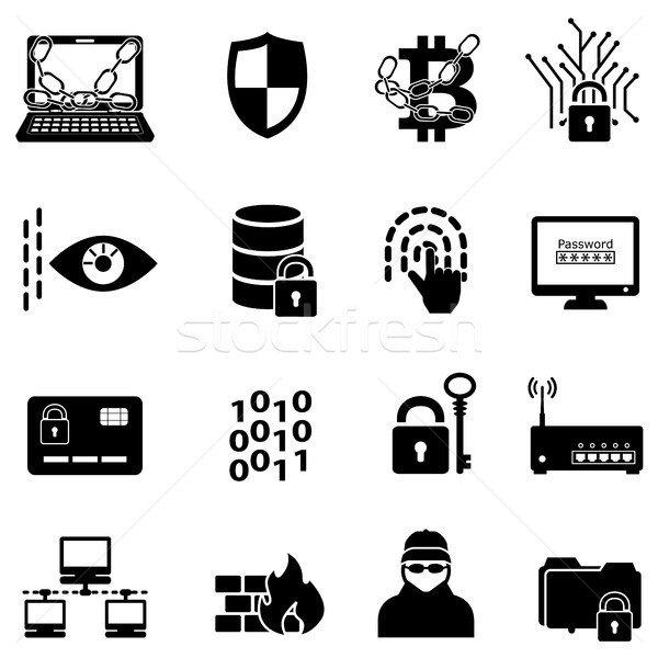 Cyber security, data protection, hacker and encryption web icons Stock photo © soleilc