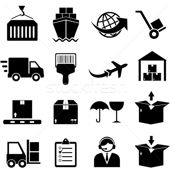 Cargo and shipping icons Stock photo © soleilc