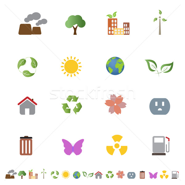Environmental ecology icon set Stock photo © soleilc