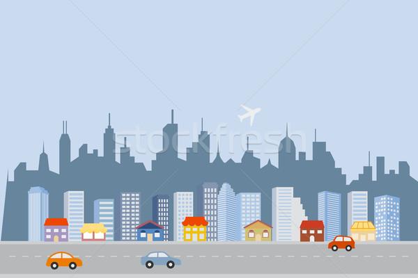 Centro da cidade grande arranha-céus casa estrada Foto stock © soleilc