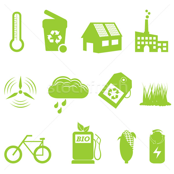 Eco and recycling icon set Stock photo © soleilc
